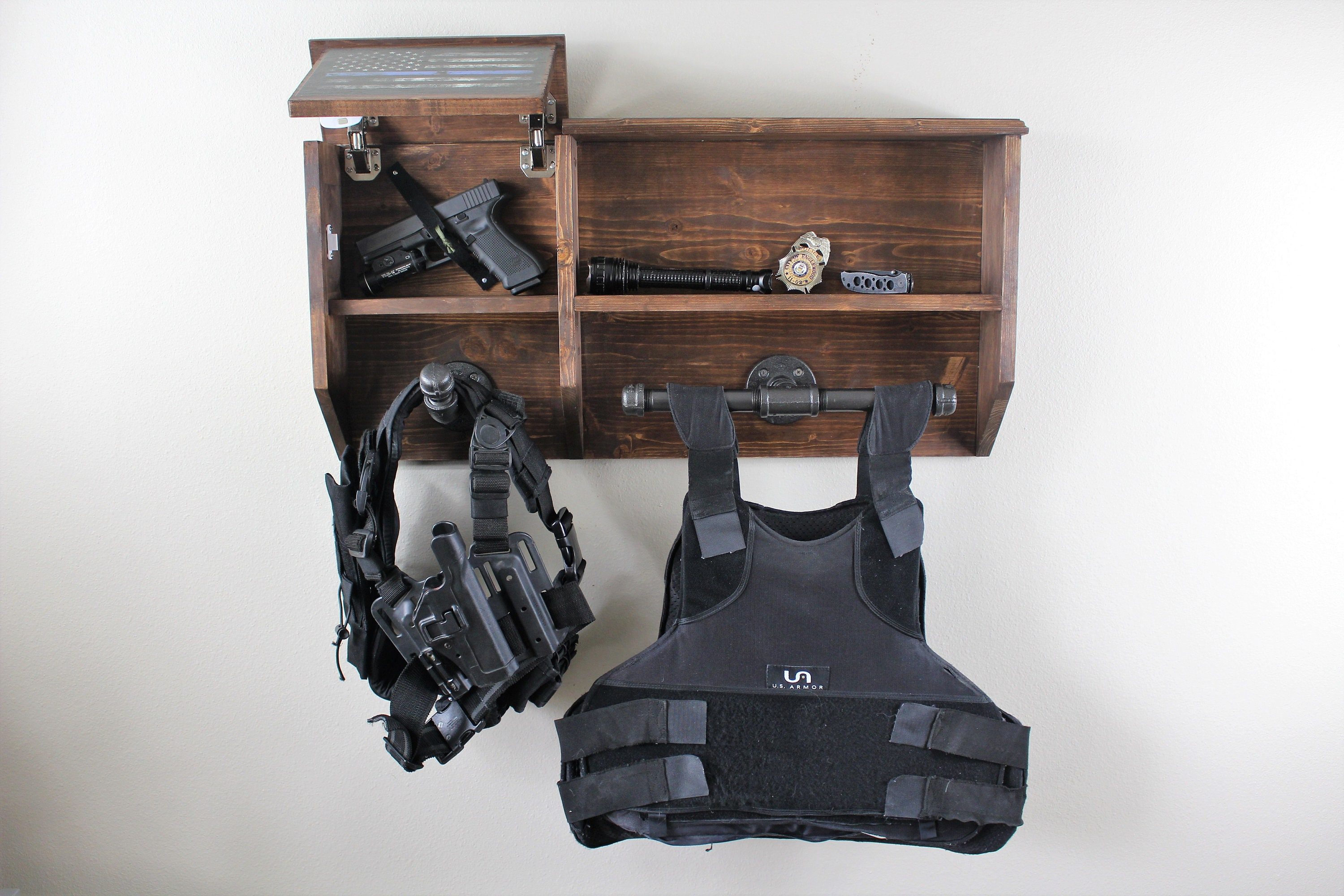 Wall Mounted Duty Gear Rack Tactical Tree And Hidden Gun
