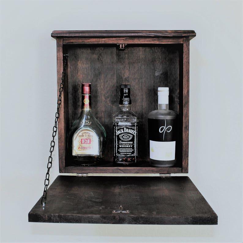 Attrayant Mini Rustic Wooden Murphy Bar Hidden Liquor Cabinet