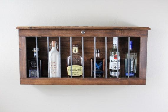 Lockable Rustic Wooden Liquor Cabinet Bar