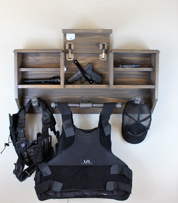 Leather Wall Equipment Holder: Wall Mounted Duty Gear Rack Double Belt Holder Variant