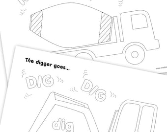 Construction Vehicle Colouring Pages - Construction Party Printables