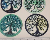 4 Beautiful hand painted tree of life die cuts card toppers card making embellishments scrapbooking decoupage