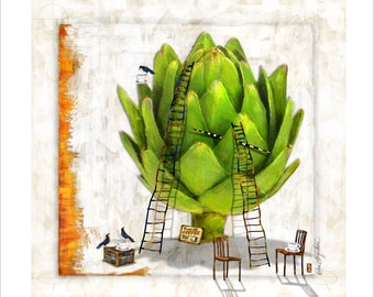Coffee / Artichoke Art Reproduction Print, 20x20 or 16x16 for Kitchen or Dining Room