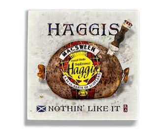 Haggis Art 5x5 Wall Tile McSweens Robert Burns Edinburgh Glasgow Inverness Highlands Scotland Wall Art Tile Brave