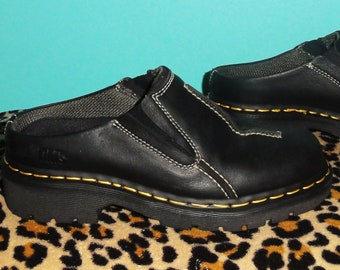 Vintage Dr Martens Black Slip On Shoes US Men's 7 US Women's 8 UK Men's 6 loafers docs dr martins grunge leather boots emo made in England