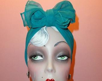 50a844005d8e Vintage Teal Extra Long Scarf pinup scarve head wrap bow bandana nylon  sheer mid century 1950s retro rockabilly neck accessory mad men blue