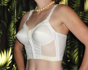 a8ff4e8c7da8d Vintage White Exquisite Form Longline Bullet Bra 46 D retro Pin Up 1950 s  mad men pinup rockabilly bettie page boudoir pointy front closure