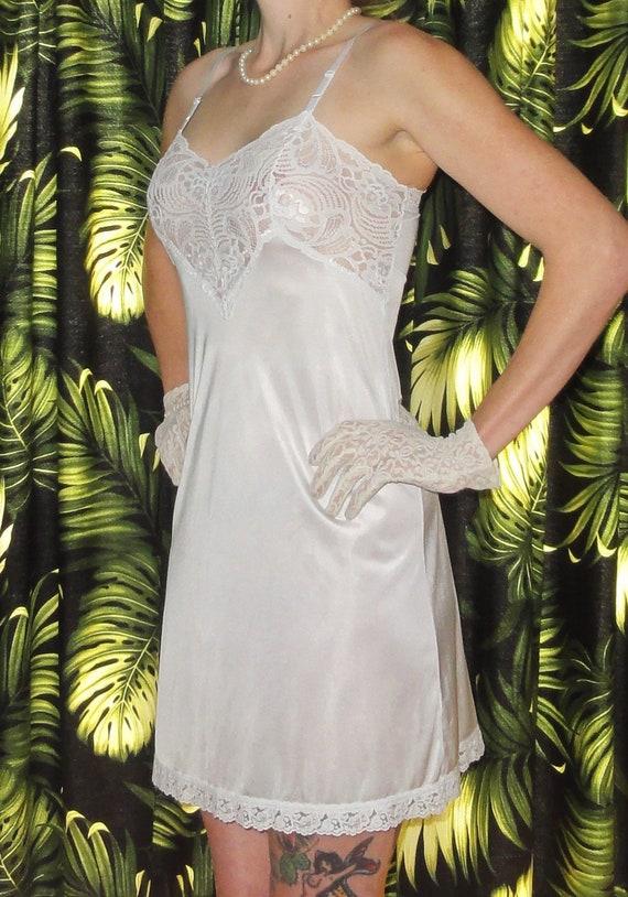 7cbecfcb7 Vintage White Adonna Slip 32 lace undergarment Pin Up