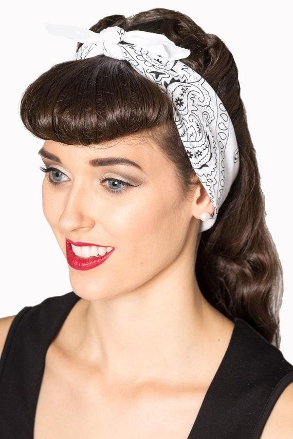 Vintage White   Black Paisley Bandana Scarf head wrap bow  9299351d787
