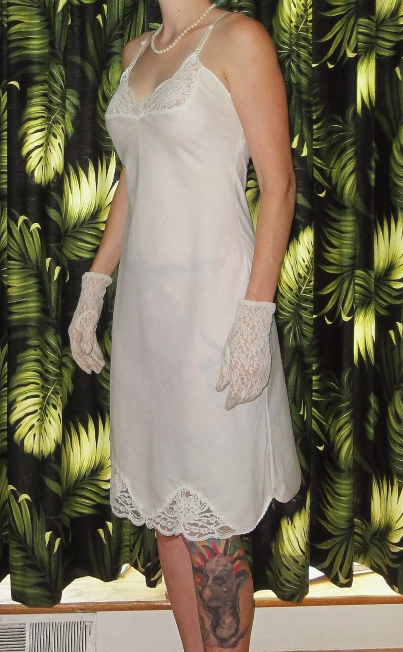 Vintage White Cotton ILGWU Slip 34  pinup lace undergarment retro intimates rockabilly mad men 1950s boudoir gift for her lingerie