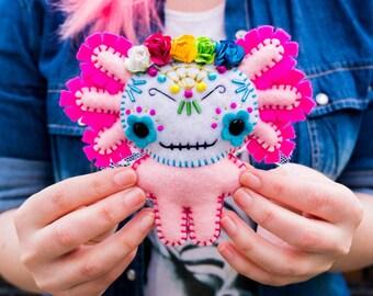 Felt Día de los Muertos Axolotl - Pocket Plush toy