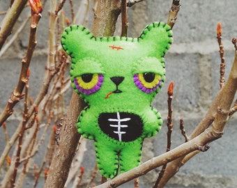 Felt Zombie Bear - Pocket Plush Toy