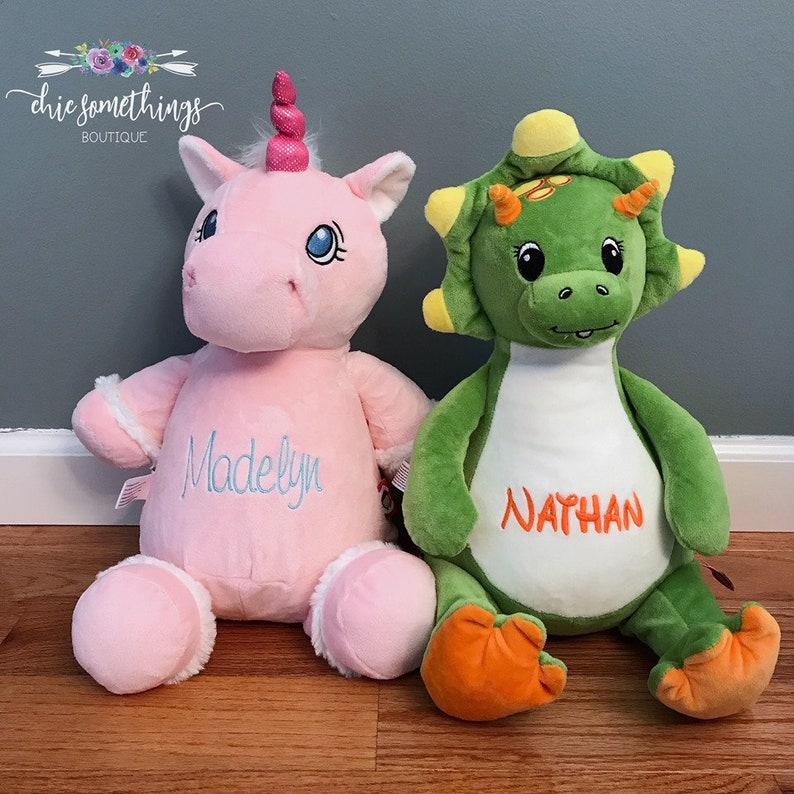 Personalized Stuffed dinosaur Personalized Unicorn Baby image 0