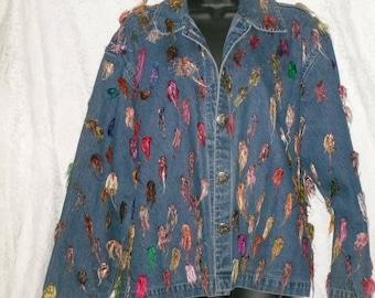 Denim Jean Jacket Embellished Size M Vintage Cotton Funky Fashion
