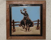 Fiesta Tile Trivet Cowboy on Bucking Bronco Horse Vintage