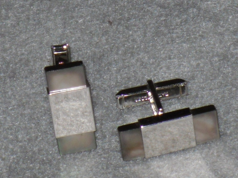 Mother of Pearl Chrome Cuff Links Vintage Formal Suit Deco Cufflinks