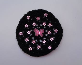 Medium Bun Cover with Pink Flower Rhinestones and Butterfly, Many Colors, Crochet Bun Cover, Bun Holder