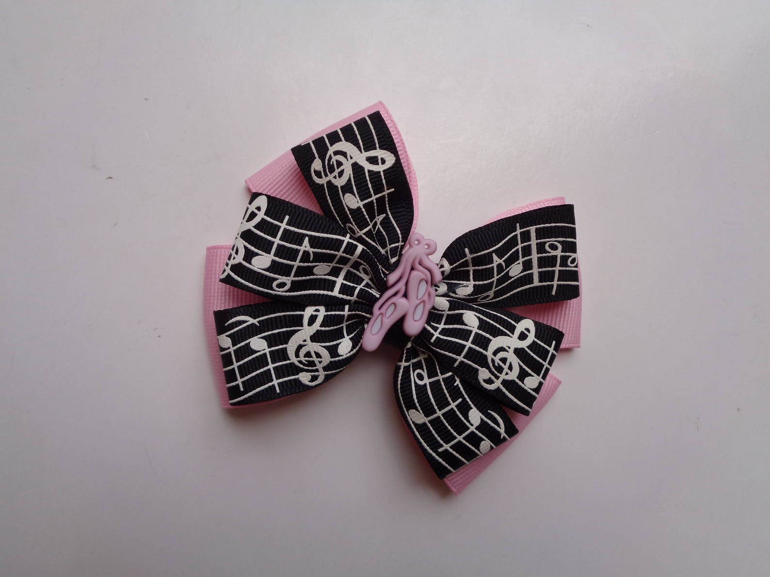 black and light pink music notes bow, ballet birthday gift, music student birthday gift, recital gift