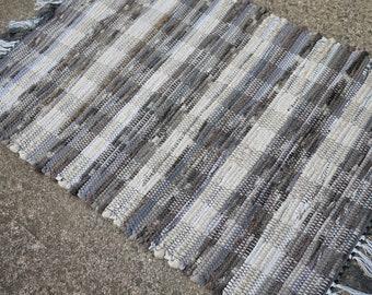 2 x 3 Handwoven Rag Rug Ecru with Grey Tones
