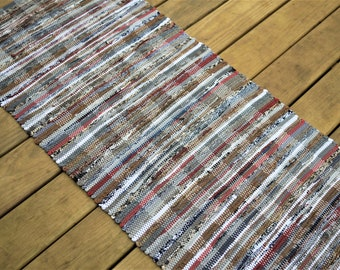 2' x 6' Amber Navy White and Grey Handwoven Rag Rug (No Fringe)