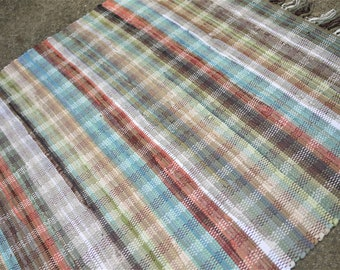 """43"""" x 70"""" Handwoven Area Rag Rug Soft Blues Greens and Beige Subtle Plaid"""