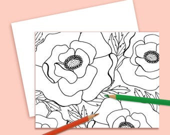 Color Your Own Note Card Poppies