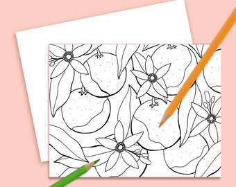 Color Your Own Note Card Orange Blossoms