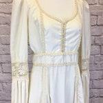 1970s Handmade Gunne Sax Boho Prairie Peasant Dress Ivory Wedding