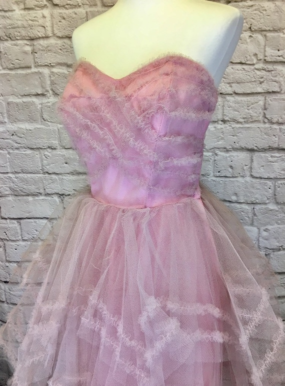 1950s Pink Tulle Prom Dress Strapless Sweetheart 5
