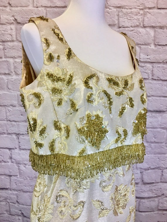 Vintage 1960s Gold Brocade Formal Beaded Gown Gold