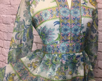 1960s Floral Maxi Longsleeve Lord & Taylor