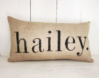 Name pillow, burlap pillow, rustic pillow, rustic burlap, wedding pillow,custom pillow,personalized,farmhouse decor