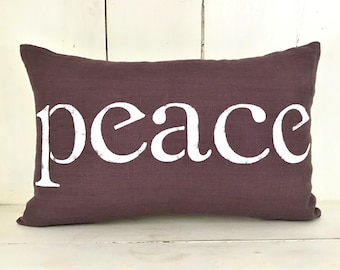 Decorative pillows, linen pillow, peace, farmhouse pillows, purple pillows, farmhouse, peace pillow, word pillow, inspirational