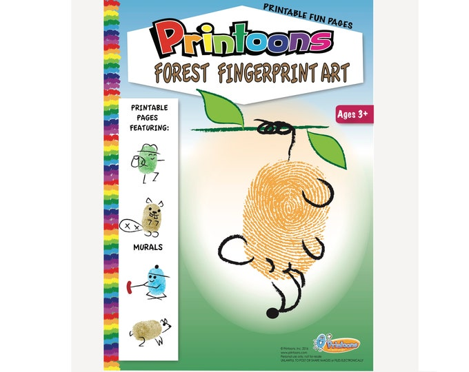 FOREST THUMBPRINT Art, Forest Worksheets, Forest Animal Art and Craft, DIY Outdoor Art, Camping Craft, Camp Art, Forest Fingerprint Art Kit