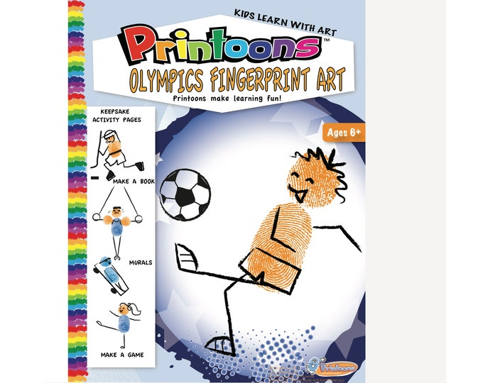 SPORTS OLYMPICS FINGERPRINT Art, Sports Digital Download Fingerprint Art Kit, Sports Diy, Sports Art, Sports Worksheets, Sports Party Fun
