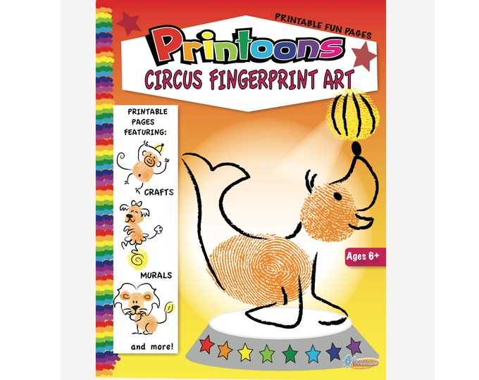 CIRCUS 3d PLAYSET Fingerprint Art, Circus Fun DIY, Circus Party Craft, Circus Fingerprint Art Downloadable Kit, Kids Art, Circus Worksheets