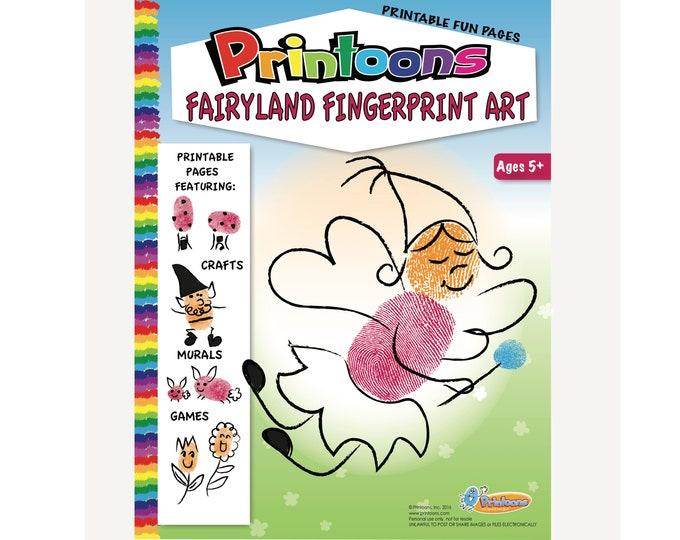 FAIRY FINGERPRINT ART, Fairy Fingerprint Art Digital Download, Fantasy Fingerprint Art, Diy Fairy Art, Fairy Party Activity, Fantasy Diy