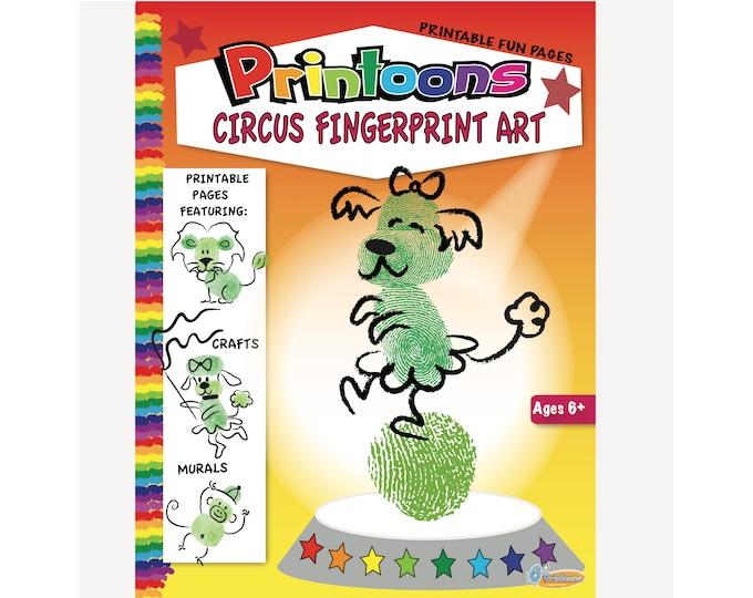CIRCUS BOOK & POSTER Fingerprint Art, Circus Worksheets, Circus Digital Download Fingerprint Art Kit, Circus Diy, Kids Circus Party Craft