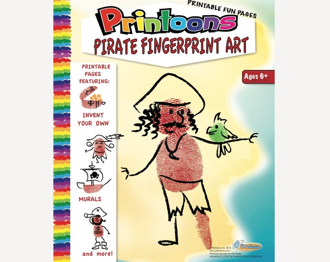 PIRATE INVENT your OWN Fingerprint Art, Pirate Posters, Pirate Crafts, Pirate Fingerprint Art Digital Download Kit,