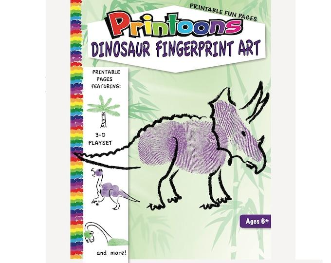 DINOSAUR 3D PLAYSET DIORAMA Fingerprint Art, Dinosaur Download Fingerprint Art Kit, Dinosaur Fingerprint Art, Diy Dino, Dino Worksheets