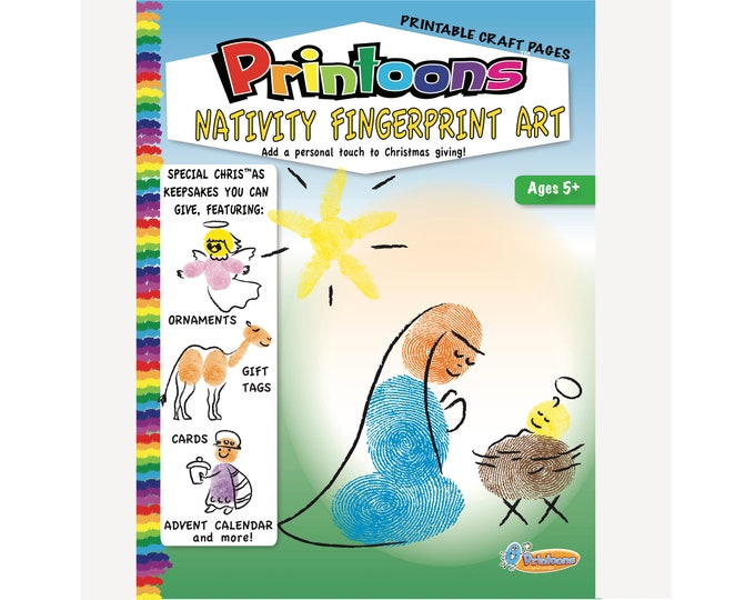 MANGER FINGERPRINT Art CARDS, Book, Mural, Gift Tag,  Manger Fingerprint Art Kit Digital Download, Manger Diy, Nativity Diy, Nativity Craft