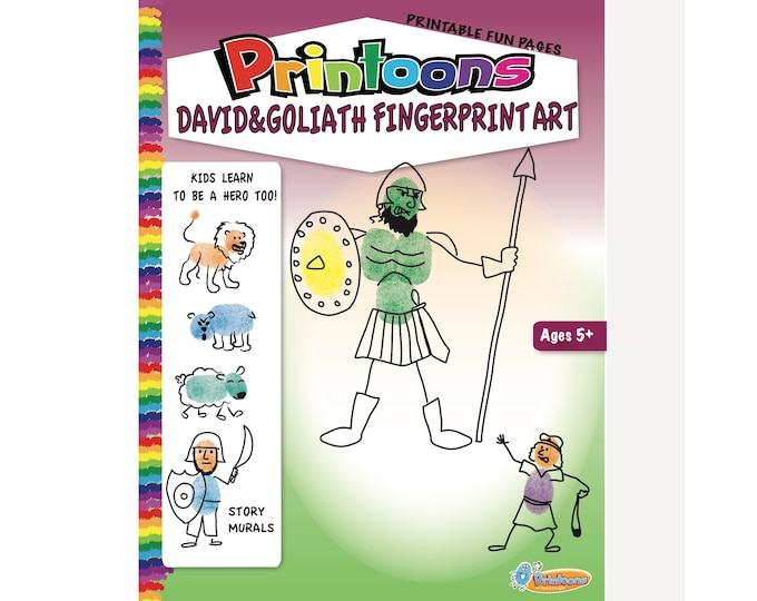 DAVID & GOLIATH BIBLE Story Fingerprint Art, Vacation Bible School Worksheets, Sunday school Worksheets, Diy Bible Story Book