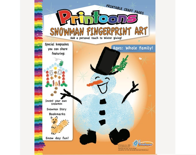 SNOWMAN STORY & CRAFTS Fingerprint Art, Snowman Diy, Snowman Worksheets, Winter Crafts, Snowman Fingerprint Art Digital Download Kit,