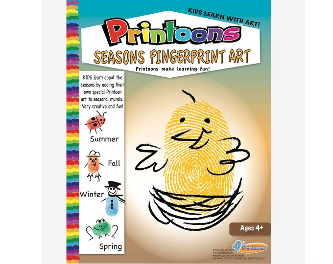 SEASONS LEARNING THUMBPRINT Art, Seasons Worksheets, Seasons Preschool, Seasons Diy, Seasons Fingerprint Art Digital Download Kit