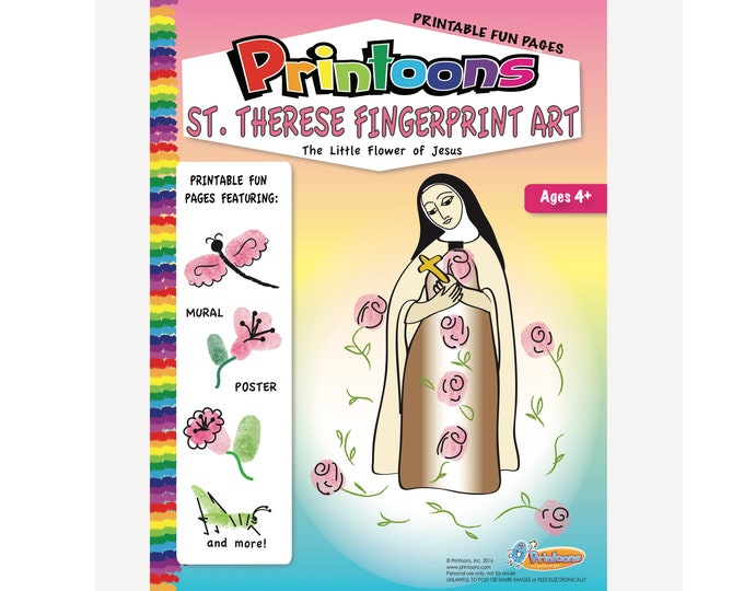 ST THERESE POSTERS Digital Download Fingerprint Art Kit, St Therese Worksheets, Little Flower Worksheets, Little Flower Fingerprint Art