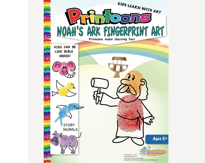 NOAHS ARK Fingerprint Art STORY, Bible Story Worksheets, Noahs Ark Worksheets, Noah's ark Diy, Bible Story Craft, Noahs Ark Craft
