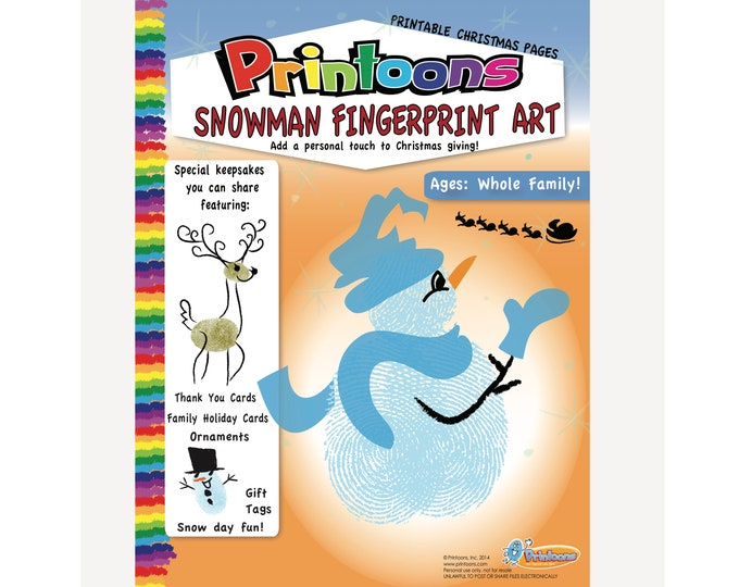 CHRISTMAS SNOWMAN INVENT Your Own, Christmas Worksheets, Family Christmas Card Diy, Christmas Fingerprint Art Digital Download Kit