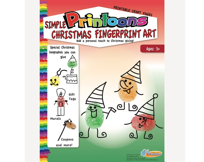 CHRISTMAS THUMBPRINT CRAFTS, Christmas Fingerprint Art Downloadable Kit, Christmas Diy Kids Fingerprint Art, Christmas Worksheets,