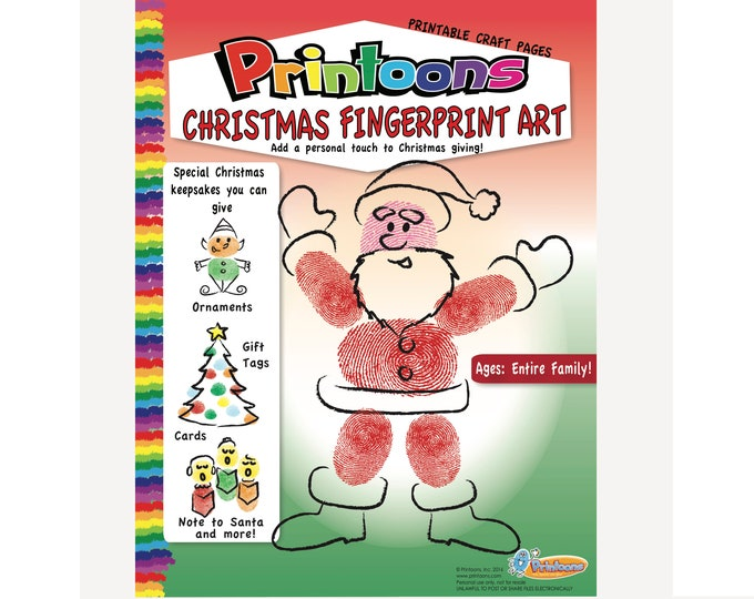 CHRISTMAS CARDS FINGERPRINT Art, Christmas Fingerprint Art Downloadable Kit, Christmas Cards Diy, Kids Christmas Worksheets,