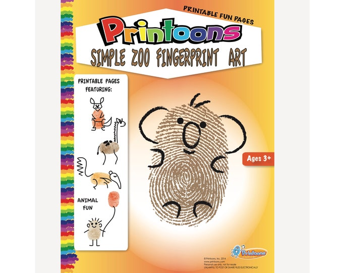 ZOO THUMBPRINT Art MURAL, Animal Fingerprint Art Digital Download Kit, Animal Worksheets, Animal Art and Crafts, Animal Diy, Zoo Diy